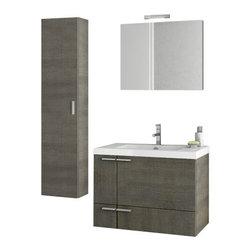 ACF - 31 Inch Grey Oak Bathroom Vanity Set - Set Includes: Vanity Cabinet (2 Doors,1 Drawer).