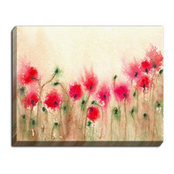 """DiaNoche Designs - Illuminated Wall Art by Brazen Design - Field of Poppies - Illuminated Wall Art by DiaNoche Designs, brings continous art 24 hours a day.  Art during the day... flip a switch, and at night, it's a light!  DiaNoche Designs illuminates artwork from behind using LED's designed to last 50,000 hours.  The """"Art Today, Light Tonight"""" concept gives each customer an opportunity to enjoy their artwork 24 hours a day! DiaNoche Designs uses images from artists all over world and literally """"Brings to Light"""" their  astonishing works.   Your 12v DC power cord can be hidden by a simple cable organizer or cable raceway, that commonly hides speaker wire on a wall.  This can be purchased at any home improvement store and you can also paint over it.  The standard option for the plug, is coming out of the bottom right, while the switch is on the right side.  If you prefer a different option with power, such as a cord coming out of the back, we can do that also!  DiaNoche Designs uses images from artists all over the world to create Illuminated Wall Art, Shower Curtains, Canvas Wall Art, Sheets, Pillows, Duvets, Blankets and many other items that you can print to."""