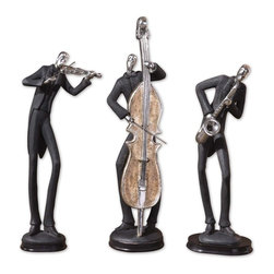 """Uttermost - Uttermost Musicians Transitional Accessory Set X-16091 - These fun statues are finished in slate gray with silver plated accents and dark chestnut brown bases. Sizes:Small (5"""" x 15"""" x 5""""), Medium (6"""" x 15"""" x 5""""), Large (5"""" x 18"""" x 5"""")."""