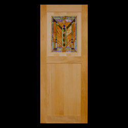 Kestrel Shutters & Doors - Closet Doors - These custom laundry room doors were designed to hold some vintage Art Deco stained glass that the client found at an estate auction.  The solid wood doors are made using traditional pegged, mortise and tenon joinery.