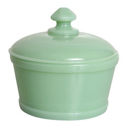 Mosser Glass, USA - Sugar, Jadeite - Reach for the sugar in this sweet covered dish.