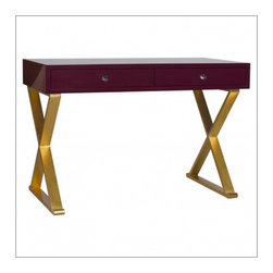 Worlds Away - Worlds Away Jared Lacquer Desk with X Base, Oxblood and Gold - Worlds Away Jared Oxblood Lacquer Desk with Gold Leaf Base
