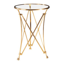 """Inviting Home - Brass Table with Glass Top - Round antique solid brass occasional table. Solid brass table has 3/8"""" thick glass top. 18"""" x 25""""H Round antique solid brass occasional table. Solid brass table has 3/8"""" thick glass top."""