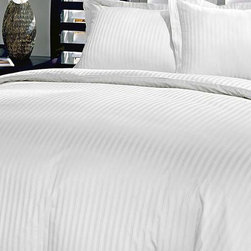 Blue Ridge Home Fashions - White Damask Stripe 250-Thread Count Duvet Cover Set - Add this elegant and incredibly soft duvet cover to any bed to make counting sheep a thing of the past. Whether updating the master bedroom or guestroom, this piece of bedding is sure to warm up décor.   Includes duvet cover and two shams (twin sizes include one sham) 100% cotton 250-thread count Machine wash Imported