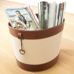 Canvas and Brown Leather Stirrup Bin
