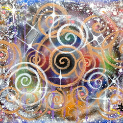 Magic (Original) by Donna Lynne - This whimsical piece, reminds me of the beauty and sparkle of the holidays. Peppermint candy swirls, snow, and twinkling lights. It just makes you feel good! The sides of the canvas are painted as well. So, you can just attach some hanging hardware, and off you go! No frame needed. *All of my work is signed and dated on the back. All pieces are varnished to protect from dust, and give the painting a deeper glossy color.*
