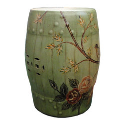 Garden / Patio / Yard - This is a hand painted colorful porcelain stool in a vintage light green base color with floral graphic.