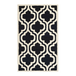 """Safavieh - Safavieh Handmade Cambridge Moroccan Black/Ivory Wool Rug (2'6"""" x 4') - Hand-tufted of a 100-percent wool pile,this handmade wool rug features a special high-low construction to add depth and unusual detailing."""