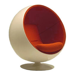 "Eero Aarnio Ball Chair | Hive Modern - The ball chair has been called ""a room within a room."" Designed back in 1963 by Eero Aarnio, even today you'll feel like you are perching yourself into a time machine."