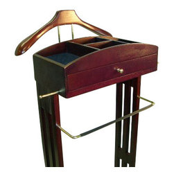 Proman - Proman Milan Jewelry Valet, Solid Wood with Walnut Finish - Milan jewelry valet, solid wood with Dark Walnut finish, Bronze hardware. Beautiful contour hanger, hand shaped and hand polish. Divided top tray with felt lining. Center drawer for additional storage with bronze hardware.