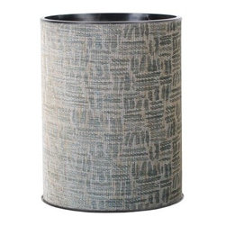 Lamont Home - Zoe Round Wastebasket Silver/Black - Made from high quality PVC/Polyester fabric, these traditional styles have been updated in a wide range of patterns to match any decor. A vinyl lid with metal grommet completes the look for the hamper. A very durable product that adds style to any laundry room.