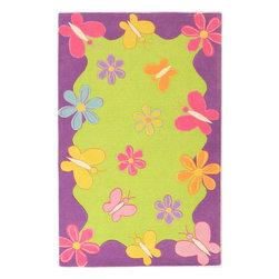 KAS - Kidding Around 421 Springtime Fun Rug by Kas - 7 ft 6 in x 9 ft 6 in - The Kidding Around Collection from KAS features fun imaginative patterns made with soft plush wool. Made with bright vibrant colors, these rugs are great for any child's room and is arguably our most popular children's collection.