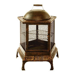 Oakland Living - Pentagon Fire Pit Chimenea w Antique Bronze F - Polyester Powder Coated. Long lasting durability. Made of cast iron. Antique Bronze finish. 24 in. W x 24 in. L x 34 in. H