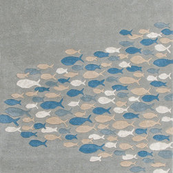 Jaipur Rugs - Transitional Animal Print Pattern Blue Wool/Silk Tufted Rug - CH03, 3.6x5.6 - Bring the beach into your home with the Coastal Living Hand-Tufted Collection. Taking inspiration from the casual style synonymous with popular lifestyle publication Coastal Living magazine, this thoughtful collection embodies the warmth and colorful surroundings of the coast. Wool is artfully hand-tufted into a thoughtful range of designs from subtle organic stripes to playful interpretations of a brightly hued school of fish. Unique touches such as art silk accents and carved pile add visual depth and a luxe hand to each piece in the Coastal LivingTM Hand-Tufted Collection.
