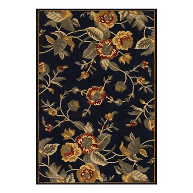 Couristan - Botanique Bailey Rug 1309/0032 - 9' x 12' - Bold floral motifs can be mixed with other patterns, like stripes and even polka dots, to create an inviting, cozy-casual look. When using an area rug that acts as a central focal point, incorporate these other complimentary patterns on a smaller scale, like with pillow fabrics or as a subtle accent in draperies.