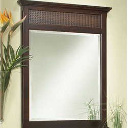 St. Bart's Vanity Mirror - The St. Bart's Vanity Mirror with beveled glass and woven rattan accent panel brings subtle texture and drama to any lavatory.