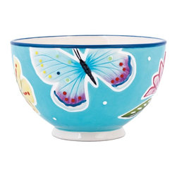 Fitz and Floyd - Fitz and Floyd 29-534 Courtyard All Purpose Bowl - Set of 4 - FITZ050 - Shop for Bowls and Candy Dishes from Hayneedle.com! The Fitz and Floyd 29-534 Courtyard All Purpose Bowl - Set of 4 is the perfect way to add a pop of color to your dining room table. Vibrant flowers and butterflies contrast against the blue background for a cheery look. The stoneware design is both dishwasher- and microwave-safe. Set of four bowls.About Fitz and FloydFitz and Floyd is recognized worldwide as a leader amongst the style- and quality-conscious. For 50 years their unique designs have made them the leader in the purveyor of hand-painted ceramic dinnerware tableware accessories giftware and collectibles. All Fitz and Floyd pieces are easy to spot distinctively hand-crafted by artisans from the drawing board to the sculpting wheel and kiln. Their Dallas-based studios are renowned for producing over 500 unique designs per year. Creations ranging from Presidential dinnerware for the White House a tea service for Her Majesty Queen Elizabeth II to the perfect centerpiece for your table each design is lovingly crafted in the highest quality. Meticulous craftsmanship and exquisite detail make every Fitz and Floyd piece a treasured heirloom-quality gift.