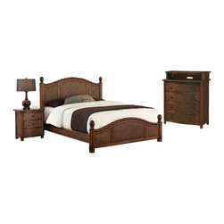 HomeStyles - King Bed, Night Stand and Media Chest - Design features natural rattan woven wicker and mahogany solids. Refined cinnamon finish. Headboard and footboard contain interior padding for additional comfort. Leather-wrapped accents. Bed: 81 in. W x 89 in. D x 53 in. H. Night Stand: 21.25 in. W x 17.75 in. D x 24.75 in. H. Media Chest: 36 in. W x 18 in. D x 42 in. HMarco Island King Bed, Night Stand, and Media Chest by Home Styles is island inspired displaying a rich blend of materials including natural rattan woven wicker, mahogany solids, and veneers in a refined cinnamon finish.  The design encompasses a twisted rattan edging on the King Headboard and Footboard, with intricate natural woven rattan panels on all four sides, solid mahogany bed posts and beautifully carved pineapple finials. The footboard adorns leather strapping accents around the solid mahogany posts. This is a complete King bed including headboard, footboard, and rails. Headboard and footboard contains interior padding for additional comfort. The night stand features three large storage drawers. Media chest features four large storage drawers; top drawer is felt-lined, and cable accessibility. All drawers have easy-glide side mounted metal guides. Matching sculpted palm mahogany hardware. Set includes bed, night stand, and media chest. Assembly required.