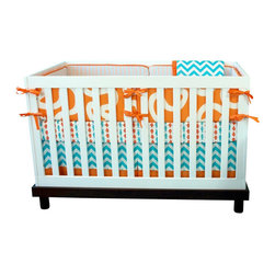 """Modified Tot - Baby Bedding Crib Set, Fishy Fishy - Here fishy fishy! You won't find these little swimmers anywhere else! Adorable fish and waves in a bright aqua and orange palette will work for either gender. The three piece set includes bumpers with hand-stitched fabric ties and contrasting piping, a fitted sheet with elastic all the way around and a four-sided skirt with a 15"""" drop. Bumpers are created in six separate pieces for easy transition to a toddler bed, they measure 1"""" thick and 10"""" high. All items are proudly made in the USA. All products are made to order."""