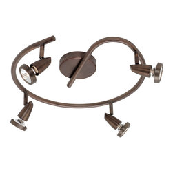 Joshua Marshal - Bronze Mirage 4 Light Semi-Flush Ceiling Spot Light with Swivel Base - Bronze Mirage 4 Light Semi-Flush Ceiling Spot Light with Swivel Base