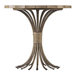 Eddy's Landing Lamp Table - With a combo of metal, leather and wood, this table will definitely be an attention grabber.