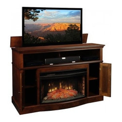 TV Lift Cabinets with Electric Fireplaces - If you are looking for a TV Lift Cabinet with style, elegance, and features to surpass the rest, look no further than the Huntington TV Lift Cabinet!