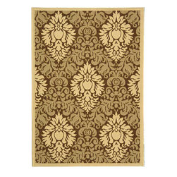 Safavieh - Indoor/ Outdoor St. Barts Brown/ Natural Rug (4' x 5'7) - This indoor/outdoor rug features an elegant Persian and European design. The natural colors on this rug will go nicely with any room or outdoor decor. Made from 100-percent fine-spun polypropylene, this rug is durable and made to last.