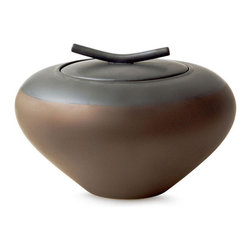 18KARAT - Bronze Pommo Lidded Urn - This stylized lidded urn bulges like a like a ripe fruit. The elegant metallic bronze glaze is accented by a charcoal matte glaze on top. It is a stunning show piece.