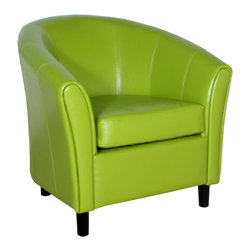 Great Deal Furniture - Newport Green Leather Club Chair - Great looking accent club chair with the contemporary tub design. High arm rests and back make for a very comfortable chair.