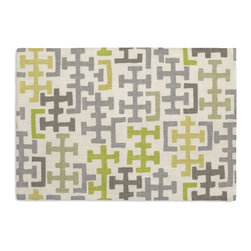 Gray & Citron Modern Cross Motif Custom Placemats, Set of 4 - Is your table looking sad and lonely? Give it a boost with at set of Simple Placemats. Customizable in hundreds of fabrics, you're sure to find the perfect set for daily dining or that fancy shindig. We love it in this gray & chartreuse modern geometric in mediumweight cotton.  this may just sum up what your living space is missing.