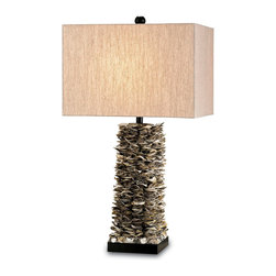 Kathy Kuo Home - Santalucia Coastal Beach Oyster Shell Column Table Lamp - What a statement: natural oyster shells stacked in an architectural column and accented with an oatmeal linen shade and black wood base.  The Santalucia is a bold addition to contemporary and beach homes alike.