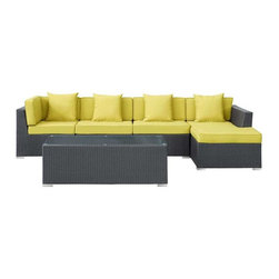 Modway - Signal 5 Piece Sectional Set in Espresso Peridot - Engage adaptivity with the Signal Outdoor Set. Embed your environs with clues for attaining allostasis with an alert orange and white design that focuses your natural acumen. Command success in progressive steps with a piece that neutralizes outside distractions.