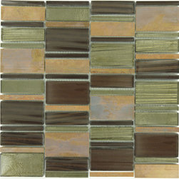 "Euro Glass - Ginger Clove Unique Shapes Bronze/Copper Copper Series Glossy Glass and Metal - Sheet size:  11 3/4"" x 11 7/8""        Tile Size:  Unique Shapes        Tiles per sheet:  56        Tile thickness:  1/4""        Grout Joints:  1/8""        Sheet Mount:  Mesh Backed        Sold by the sheet    -"