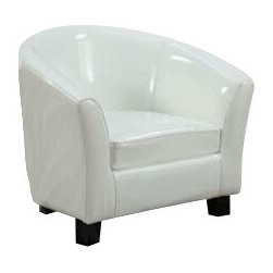 "ACMACM10055 - White Vinyl Children's Club Chair with Rounded Back and Arms - White vinyl children's club chair with rounded back and arms. Measures 20"" x 17"" x 18""H. Some assembly required. Also available in other colors."