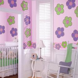 Home Decorators Collection - Poppies Wall Decal - Peel then plant our springtime colors and flowers on your child's walls. You'll never have to water them and they'll stay for as long as you like. The simple peel-and-stick design makes applying our decals to the wall a cinch. Includes eight purple poppies, eight green poppies and one striped poppy. Safe for your walls. Easy to apply and remove.