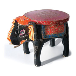Everybody's Ayurveda - Hand Painted Elephant Foot Stool in Wood - Hand-painted Elephant Foot Stool. Hand-painted wood. Made in India. Constructed of a sturdy wooden frame and hand painted, this colorful elephant foot stool can be used for decoration in any room!Package Includes:Elephant Foot Stool OnlyDimensions:Width: 18 inch