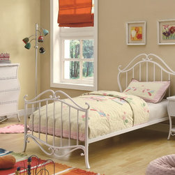 Bella Youth Bedroom Set in White - Curved metal scroll work of the Bella Youth 5 PC Bedroom Set in White (Bed, Nightstand, Dresser and Mirror) is fancy, and its white color of the wood and metal will match with a number of different styles.