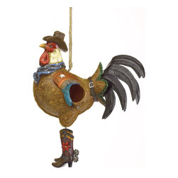 """Anzy - Cowboy Rooster Birdhouse - This hilarious birdhouse is literally a """"bird house""""! All dressed up in his Western finery, a plump brown """"bucka-rooster"""" offers ample shelter to his fellow feathered friends. Free-swinging cowboy boot feet dance an amusing two-step in the slightest breeze!  Polyresin with metal tail.  Measures:  10 1/4"""" x 5 1/8"""" x 13"""" long."""