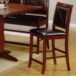 Coaster - Lancaster Collection Counter Height Table Stool in Brown, Set of 2 - This lovely counter height bar stool will add a sophisticated look to your casual dining and entertainment area. This chair has a contemporary look, with a smooth Distressed Dark Brown finished wood frame, and a luxurious black faux leather chair back and seat. Square tapered legs and straight stretchers offer support, and complete the chic style. Pair with the matching counter height table for a complete dining ensemble in your home.