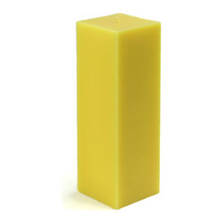"Jeco - 3 x 9"" Yellow Square Pillar Candle - Large 9 inch square pillar candles are a must for events such as housewarmings and weddings. Smokeless and Dripless. Perfect for indoor or outdoor events. These unscented pillars burn exceptionally long and have solid color all the way through. PLEASE NOTE: Actual color may differ from the color shown in the image(s) due to monitor displays.; Features: Color: Yellow; 100% Handpoured; Unscented; Size: 3"" L x 3"" W x 9"" H; Burn Time: 110 Hours"