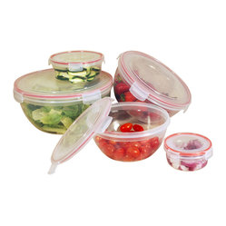 Cookpro - 10-piece Container Set with Round Lock and Seal Lids - You spin me right round, baby, right round. Lock in the fresh beets — or anything else you want to keep fresh — with this set of five round food grade plastic containers. Each has its own locking, airtight lid, and keeps its groove in the freezer, microwave and dishwasher. Now you look like you're having fun.