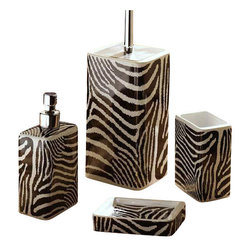 Gedy - Safari Zebra Design Bathroom Accessory Set - Stylish, decorative zebra design bathroom accessory set which includes toothbrush holder, toilet brush holder, soap dispenser, and soap dish.