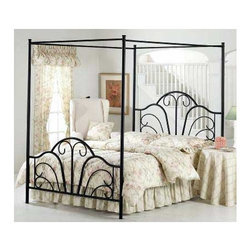 Hillsdale - Dover Canopy Bed - The Dover Canopy Bed has a transitional design that features an exciting scroll design in the headboard and footboard. Features: -Scroll design.-Fully welded construction.-Black matte finish.-Recommended care: Dust frequently using a clean, specially treated dusting cloth that will attract and hold dust particles. Do not use liquid or abrasive cleaners as they may damage the finish..-Distressed: No.-Collection: Dover.Dimensions: -Overall Product Weight: 95.5 lbs. About the Manufacturer: About Hillsdale House Furniture Located in Louisville, KY, Hillsdale House Furniture has produced an enormously popular collection of bedroom and accent furniture. Hillsdale House items are constructed of quality materials and offered at an affordable price. We are an authorized dealer of the full line of Hillsdale House furniture; if you can''t find a specific Hillsdale piece, give us a call!
