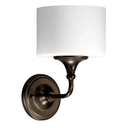 Quorum Lighting - Quorum Lighting Rockwood Transitional Wall Sconce X-68-1-0945 - Contrasting tones accentuate the contemporary and vintage elements of this Quorum Lighting wall sconce. From the Rockwood Collection, the drum shape of the satin opal glass adds a contemporary feel, which pairs beautifully with the traditional knobs and detail work of the Oiled Bronze finished frame.