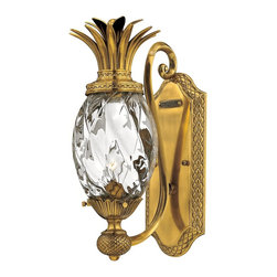 Hinkley Lighting - Hinkley Lighting Plantation Traditional Wall Sconce X-BB0414 - This Hinkley Lighting Plantation Traditional Wall Sconce has a subtle but striking appearance. Key features of this piece include the pineapple-shaped, clear, optic glass diffuser and the sleek and shiny, burnished brass finish. It's a stunningly spectacular light fixture that will illuminate your home with a warm and welcoming glow of light.