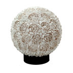 Kouboo - Floral Clamrose Shell Table Lamp, White - A sturdy acrylic sphere makes up the foundation for this striking sphere table lamp. White Clamrose seashells are applied individually by hand to create a floral rose-like pattern. When lit, the seashell rosettes give off an incredible glow.1 year limited warranty.