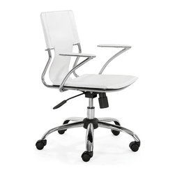 ZUO Modern - Trafico Office Chair by ZUO Modern, White - This fun and functional office chair combines a modern and transitional look. The Trafico office chair is made from a solid chrome frame, leatherette sling seat and arm pads, a chrome base, and an adjustable height mechanism.