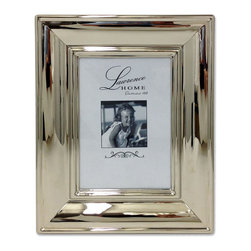 Lawrence Frames - Wide Silver Metal Elegance 5x7 Picture Frame - Fabulous wide silver decorative metal picture frame.  A beautiful addition to any room, and the perfect gift for someone special.  This high polished silver metal frame has a lot of dimension sloping inward toward the photo.  High quality black  velvet backing with easel for vertical or horizontal tabletop display, and comes with hangers for vertical or horizontal wall mounting.    Heavy weight metal picture frame is made with exceptional workmanship and comes individually boxed.   In this style the 8x10 size comes with a white acid free bevel mat for a 5x7 photo.