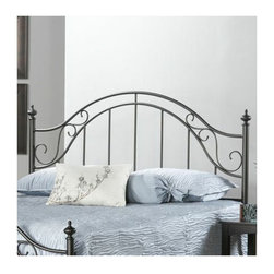"Hillsdale - Clayton Metal Headboard - The Clayton Bed features clean lines with added scrollwork in corners of the headboard for a more traditional feel. Round finials and rich matte brown finish complete the look. Features: -Clayton collection. -Finish: Rich Matte Brown. -Scrollwork in corners of the the headboard. -Round finials. -Clean lines. Dimensions: -Full / Queen: 52"" H x 61"" W x 2.25"" D, 17 lbs. -King: 52"" H x 77"" W x 2.25"" D, 19 lbs."