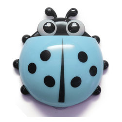 Ladybug - The Suction Cup Container, Blue - you're always looking for some place to store your toothbrush that is out of the way but still easily accessible. well look no further! this adorable ladybug container has suction cups that grip to any slick surface, like a mirror or shower wall. this little guy's shell is a great place to store all you toothbrushes, bottle, and whatever else you need!